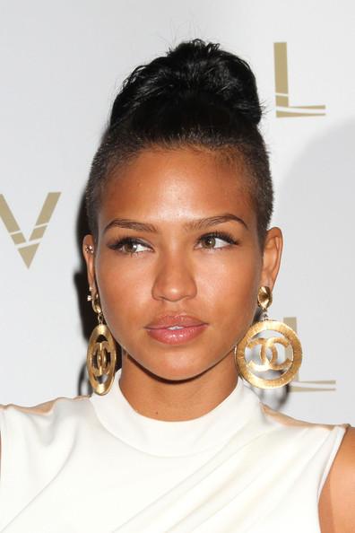 Cassie-In-White-Chanel-Dress-Lavo-Stero-Las-Vegas-big-cc-logo-chanel-earrings