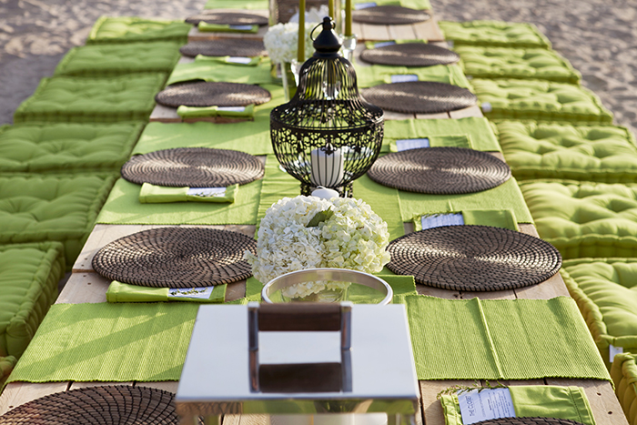 Beach party set up white in green