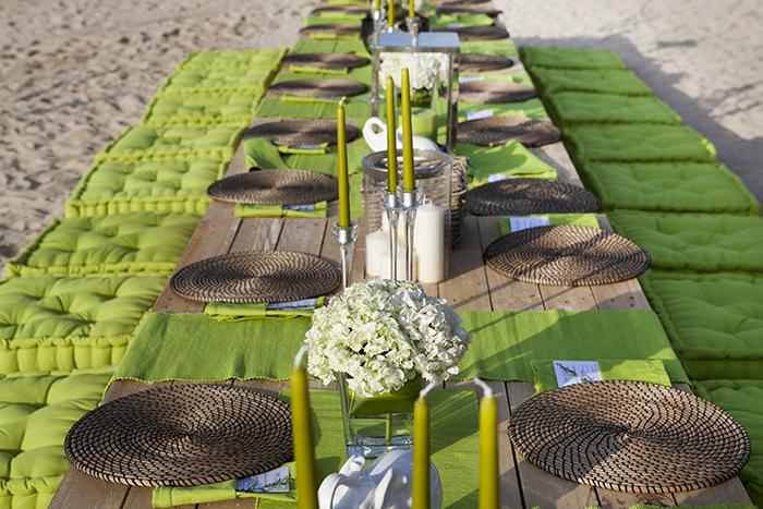 beach party dinner set up